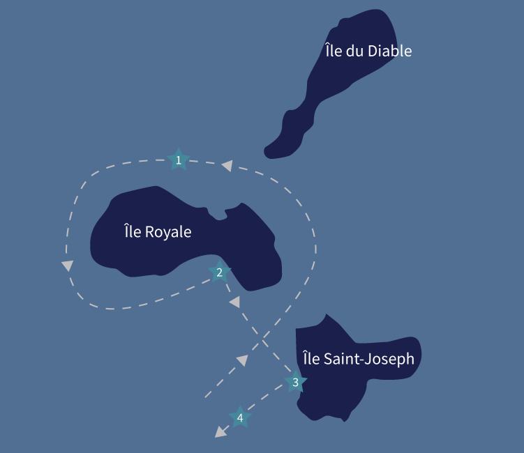 Trajet Îles du Salut Tropic Alizés